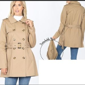 DOUBLE BREASTED COTTEN TWILL TRENCH COAT